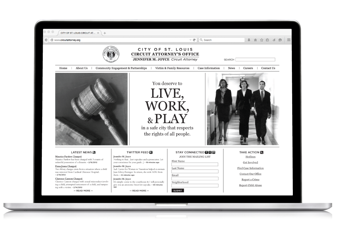 homepage for St. Louis City Circuit Attorney's Office